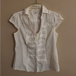 Anthro Classic Ivory Button-up Top - Size 2